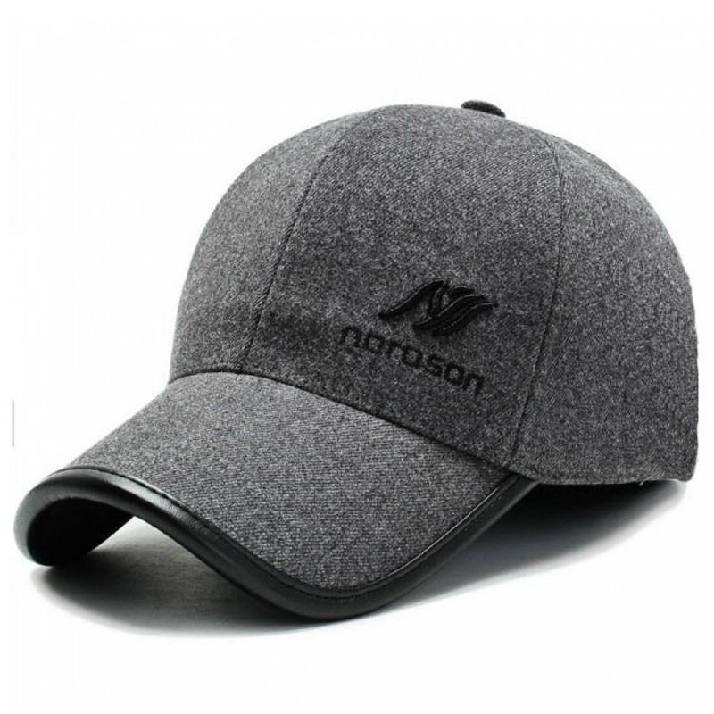 Мужская зимняя кепка с логотипом Noroson серого цвета
