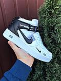 Кроссовки Найк Аир Форс мужские белые демисезонные Nike Air Force білі з чорним демісезонні, фото 3