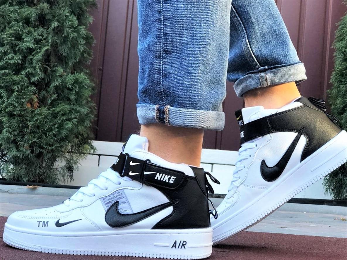 Кроссовки Найк Аир Форс мужские белые демисезонные Nike Air Force білі з чорним демісезонні