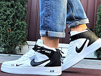 Кросівки Найк Аір Форс чоловічі білі демісезонні Nike Air Force білі з чорним демісезонні