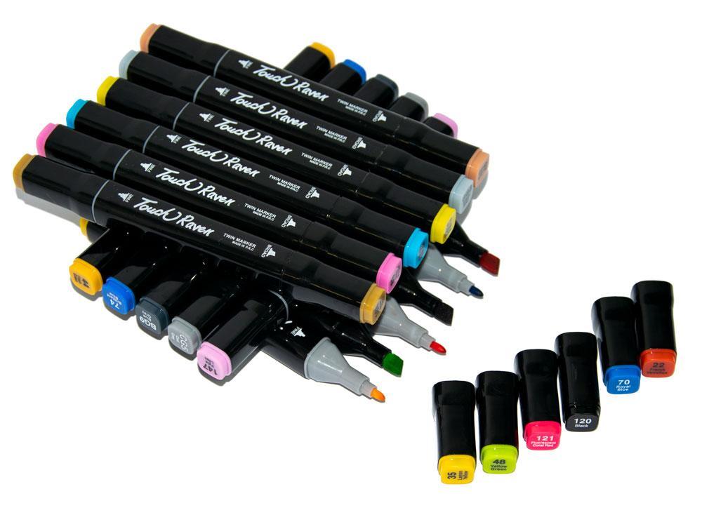 Маркери для малювання (скетчингу), Touch Raven чорні (60 шт./уп. чорний корпус) двосторонні фломастери