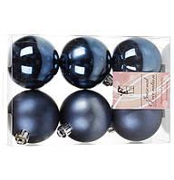 Набір синіх куль на ялинку 6 шт * 6 см, фото 1