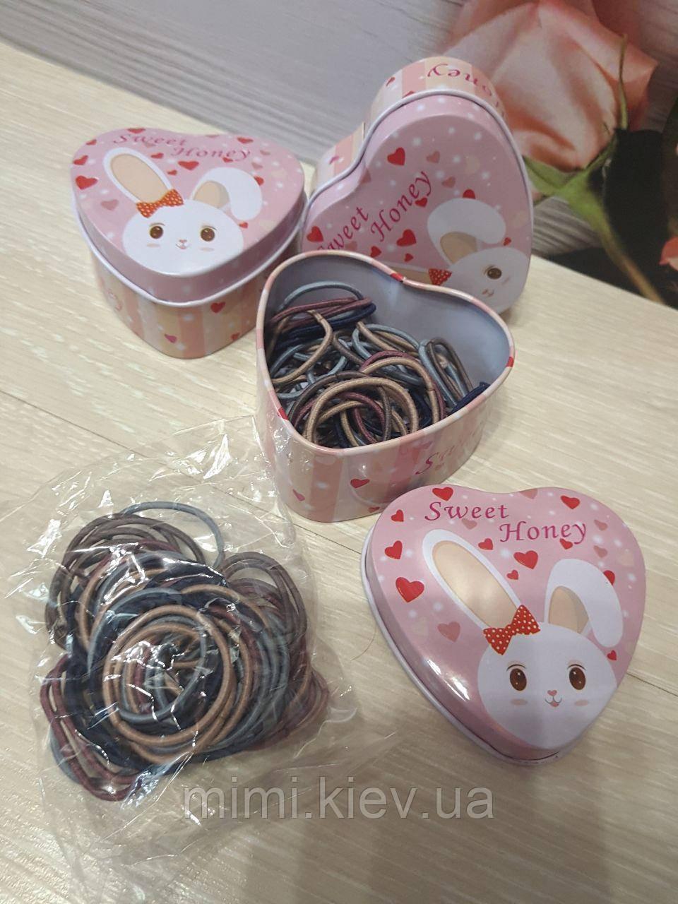 Набор резиночек для волос в жестяной коробочке Sweet honey 55 шт