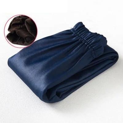 Женские кожаные зимние лосины Синий, 150