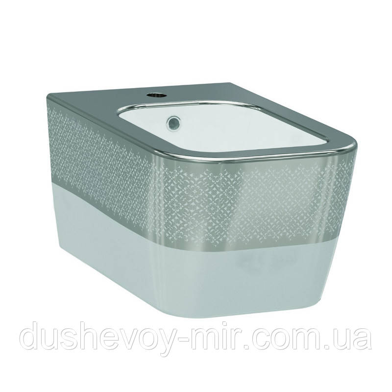 Биде подвесное IDEVIT Halley (3206-2605-1201) белый/декор серебро