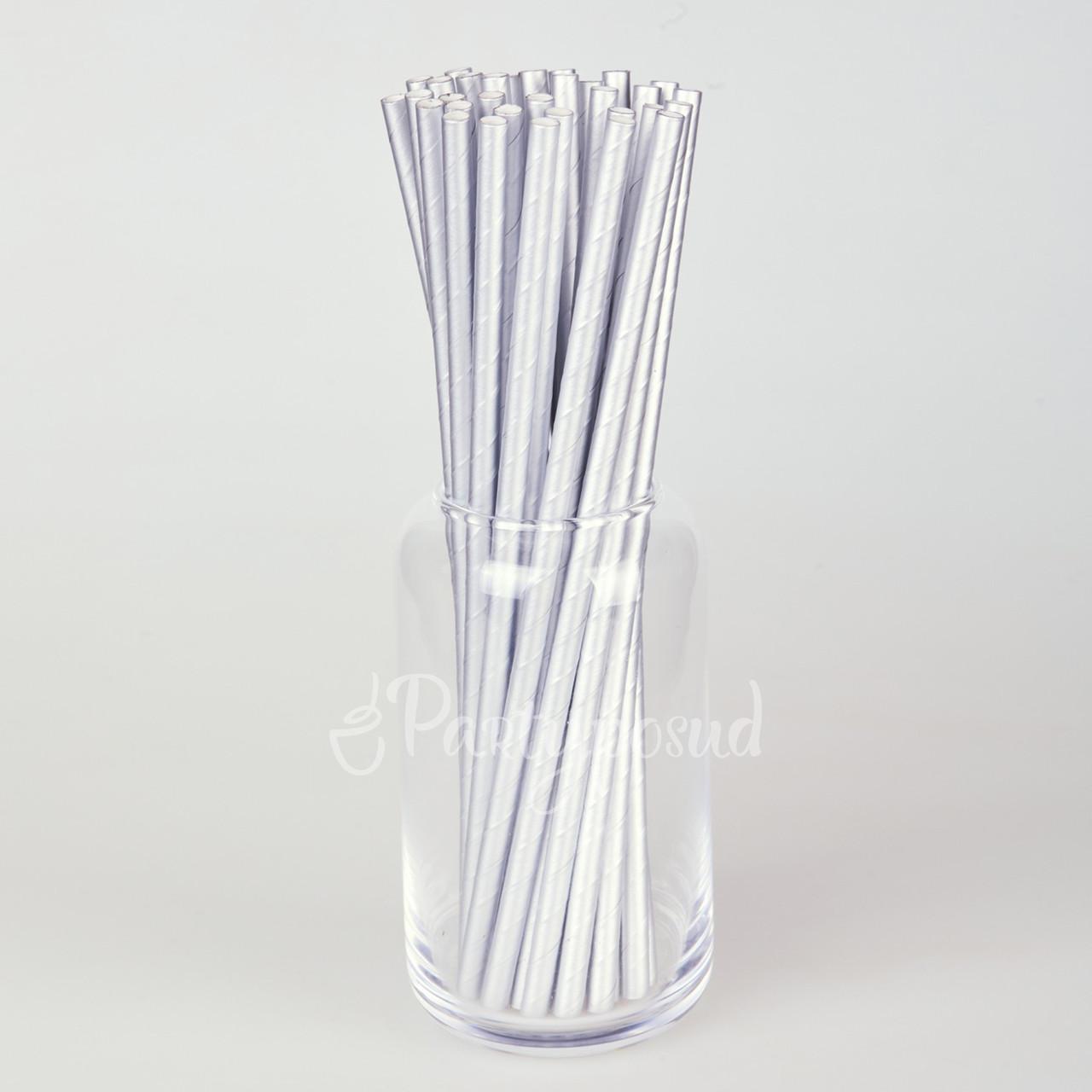 Трубочка бумажная серебряная