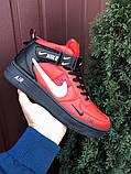 Кроссовки Найк Аир Форс мужские черные с красным демисезонные Nike Air Force червоні з чорним демісезонні, фото 4