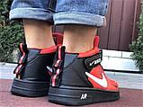 Кроссовки Найк Аир Форс мужские черные с красным демисезонные Nike Air Force червоні з чорним демісезонні, фото 2