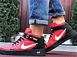 Кроссовки Найк Аир Форс мужские черные с красным демисезонные Nike Air Force червоні з чорним демісезонні, фото 3