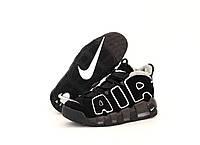 Кроссовки мужские зимние Nike Air More Uptempo черные, Найк Аптемпо, нубук, мех, код KD-11635