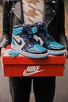 Кроссовки женские Nike Air Jordan 1 Retro голубое, Найк ДжорДан, лаковая кожа, прошиты. Код IN-632