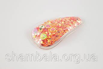 Заколка-хлопавка крапелька пайетка Помаранчева (091761)