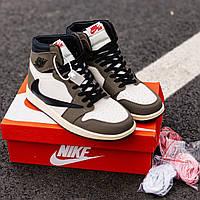 Кроссовки женские Nike Air Jordan 1 Retro x Travis Scott, Найк Джордан, натуральная кожа, код IN-272