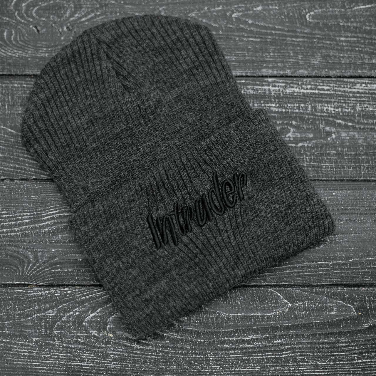 Шапка Мужская | Женская Intruder зимняя big logo серая Intruder