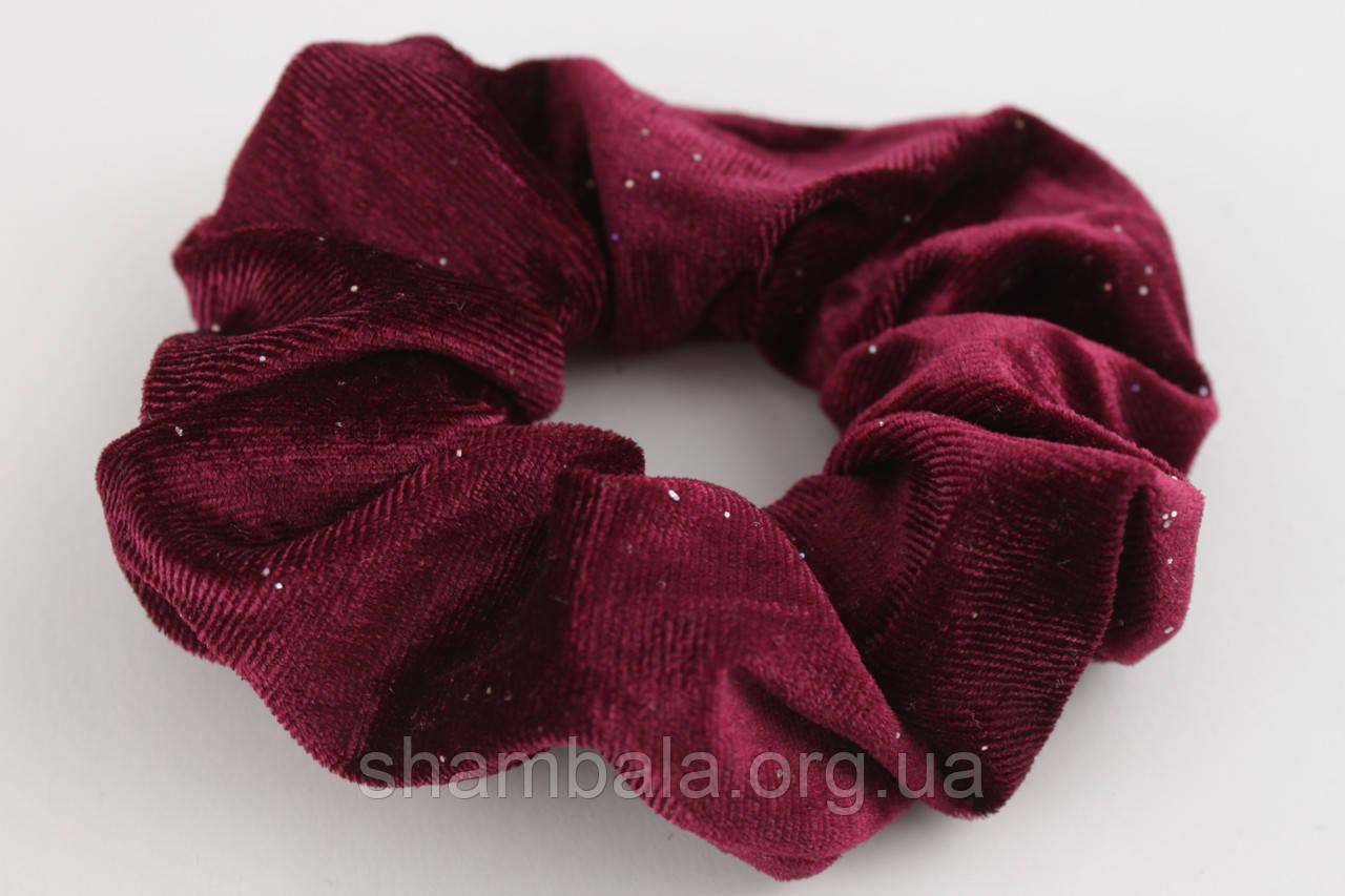 """Резинка для волос велюровая с нежными блестками """"Elegant velor"""" Бордовый (091327)"""