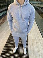 Мужской утепленный спортивный костюм c капюшоном серый, фото 1