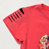 Детский летний костюм р.104,110,122 SmileTime футболка и капри для девочки Lovely, коралл с черным, фото 2