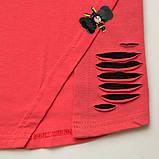 Детский летний костюм р.104,110,122 SmileTime футболка и капри для девочки Lovely, коралл с черным, фото 3