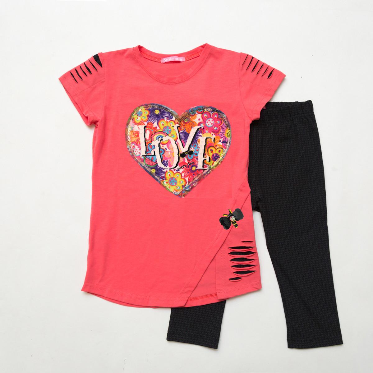 Детский летний костюм р.104,110,122 SmileTime футболка и капри для девочки Lovely, коралл с черным