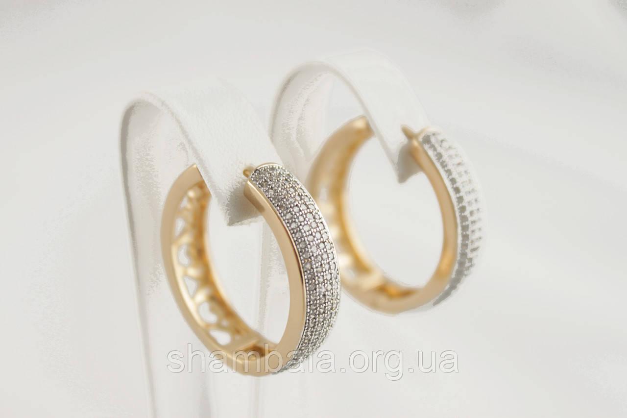 Серьги Xuping Jewelry фианиты позолота Кольца (089676)