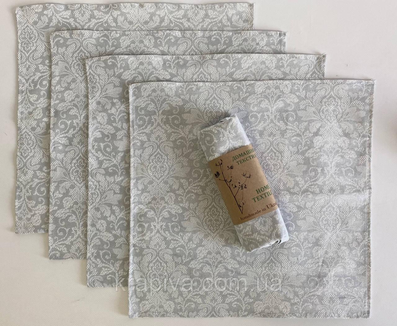 Набор 4 шт Салфетки сервировочные льняные хлопок 35*35 см, серветка для сервірування натуральна льняна бавовна