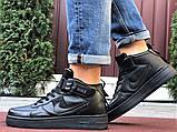 Кроссовки Найк Аир Форс мужские черные демисезонные Nike Air Force чорні демісезонні найк аір форс, фото 2