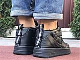 Кроссовки Найк Аир Форс мужские черные демисезонные Nike Air Force чорні демісезонні найк аір форс, фото 5