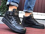 Кроссовки Найк Аир Форс мужские черные демисезонные Nike Air Force чорні демісезонні найк аір форс, фото 4