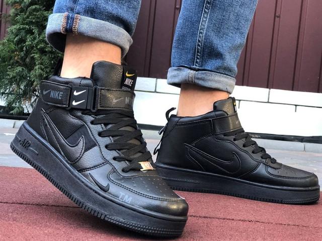 Мужские зимние ботинки nike air force, демисезонные теплые кожаные высокие кроссовки в стиле найк на каждый день, Nike air force