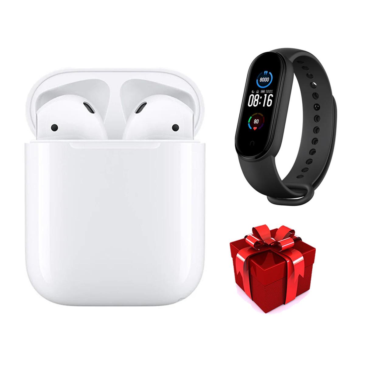 Bluetooth наушники i12TWS белые + фитнес браслет М5 черный