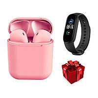 Bluetooth наушники i12TWS розовые + фитнес браслет М5, фото 1