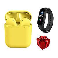 Беспроводные Bluetooth наушники i12 TWS Stereo желтые + фитнес браслет М5 русский язык, фото 1