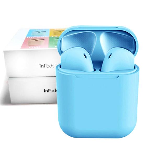 Беспроводные сенсорные Bluetooth наушники TWS i12 Magnetto Stereo blue gloss