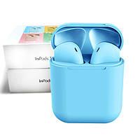 Беспроводные сенсорные Bluetooth наушники TWS i12 Magnetto Stereo blue gloss, фото 1