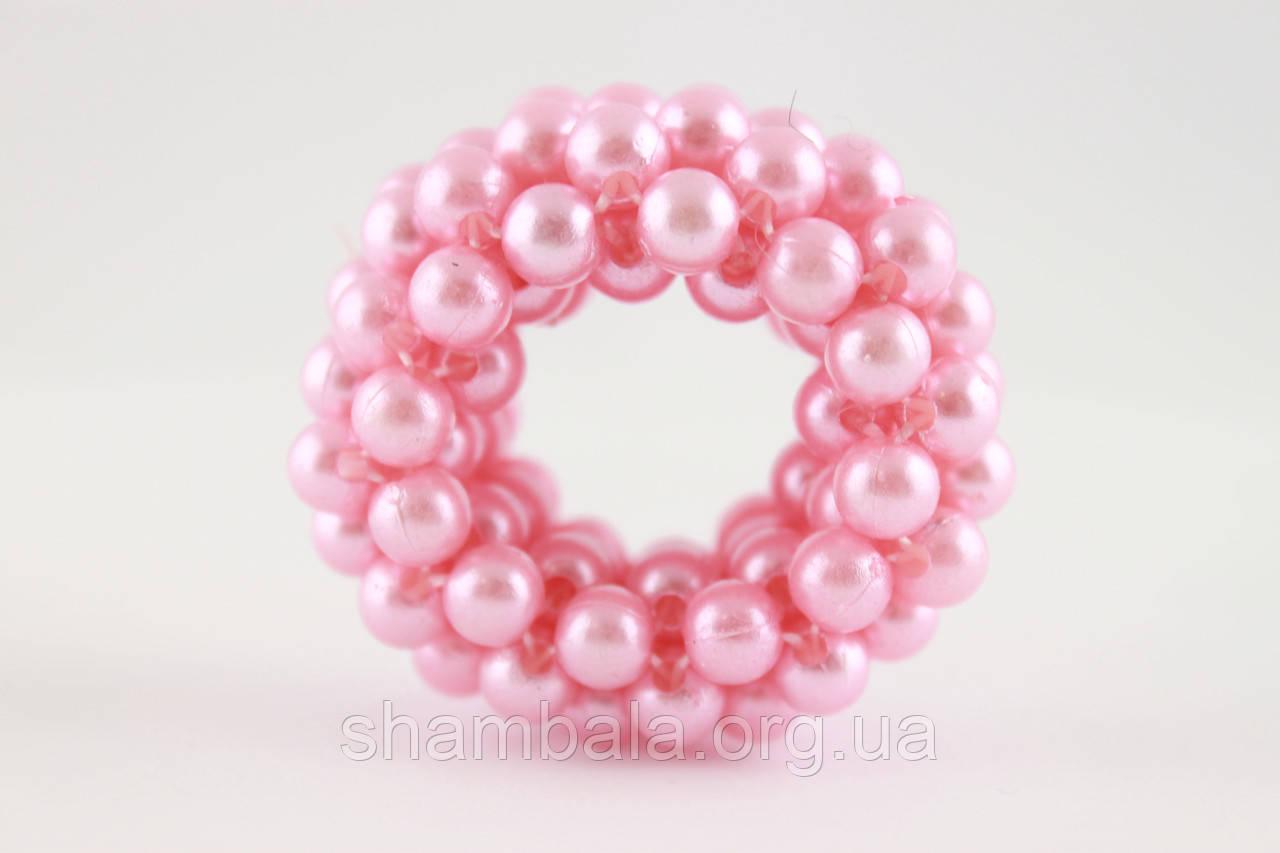 Гумка-хвостовик для волосся з перлів Рожева (058320)