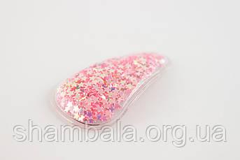 Заколка-хлопавка крапелька пайетка Рожева (091761)