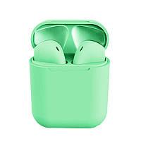 Бездротові сенсорні навушники i12 TWS Pods Green, фото 1
