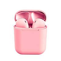 Беспроводные сенсорные наушники i12 TWS Pods Pink gloss, фото 1