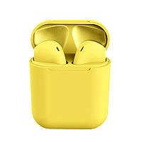 Беспроводные сенсорные наушники i12 TWS Pods Yellow, фото 1