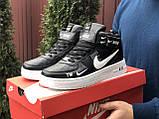 Чоловічі демісезонні кросівки Nike Air Force,білі з чорним, фото 2