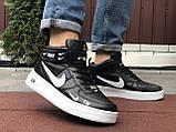 Чоловічі демісезонні кросівки Nike Air Force,білі з чорним, фото 4