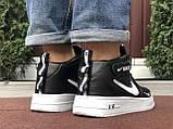 Чоловічі демісезонні кросівки Nike Air Force,білі з чорним, фото 5