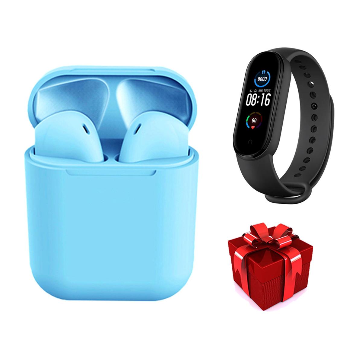 Беспроводные сенсорные наушники TWS i12 Magnetto голубые + подарок фитнес браслет Band М5