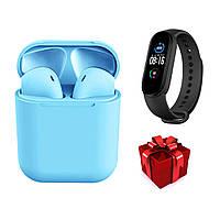 Беспроводные сенсорные наушники TWS i12 Magnetto голубые + подарок фитнес браслет Band М5, фото 1