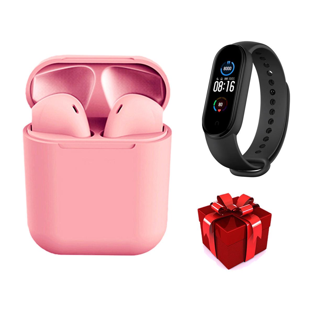 Беспроводные сенсорные наушники TWS i12 розовые + фитнес браслет Band М5