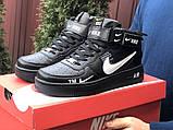 Кроссовки Найк Аир Форс мужские черные с белым демисезонные Nike Air Force чорні демісезонні найк, фото 3