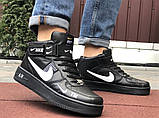 Кроссовки Найк Аир Форс мужские черные с белым демисезонные Nike Air Force чорні демісезонні найк, фото 2