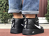 Кроссовки Найк Аир Форс мужские черные с белым демисезонные Nike Air Force чорні демісезонні найк, фото 4