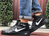 Кроссовки Найк Аир Форс мужские черные с белым демисезонные Nike Air Force чорні демісезонні найк, фото 5
