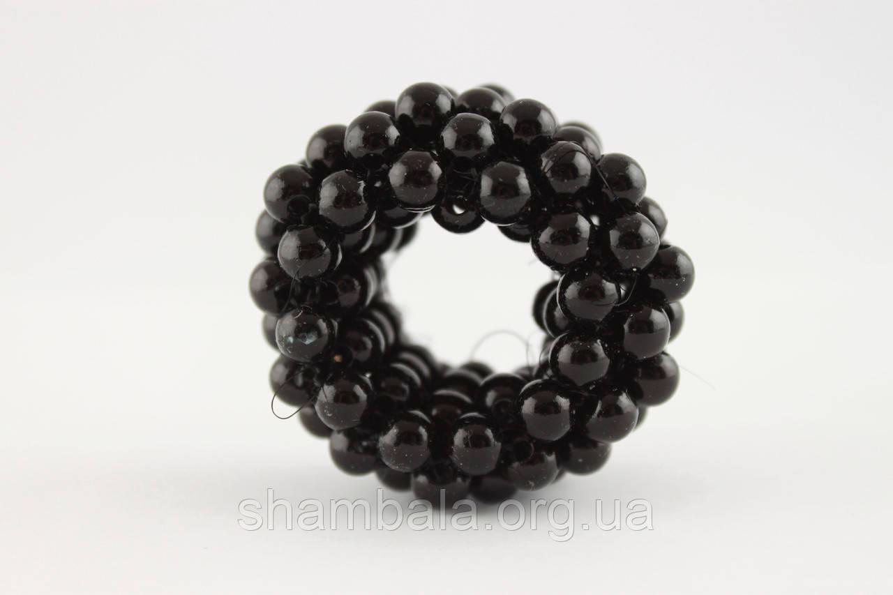 Резинка-хвостовик для волос из жемчуга Чёрная (058320)